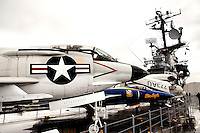 Visitors to the Intrepid Sea, Air & Space Museum experience interactive exhibits and displays, including a Growler Submarine, the Concorde airplane,  and the USS Intrepid, a National Historic Landmark.