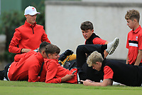 Team Wales relax on the 1st tee during the Boys' Home Internationals played at Royal Dornoch, Dornoch, Sutherland, Scotland. 07/08/2018<br /> Picture: Golffile | Phil Inglis<br /> <br /> All photo usage must carry mandatory copyright credit (&copy; Golffile | Phil Inglis)