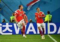 (180619) -- SAINT PETERSBURG, June 19, 2018 -- Artem Dzyuba (L) of Russia celebrates scoring during a Group A match between Russia and Egypt at the 2018 FIFA World Cup WM Weltmeisterschaft Fussball in Saint Petersburg, Russia, June 19, 2018. ) (SP)RUSSIA-SAINT PETERSBURG-2018 WORLD CUP-GROUP A-RUSSIA VS EGYPT LixGa PUBLICATIONxNOTxINxCHN  <br /> Saint Petersburg 19-06-2018 Football FIFA World Cup Russia  2018 <br /> Russia - Egypt / Russia - Egitto <br /> Foto Imago/Insidefoto