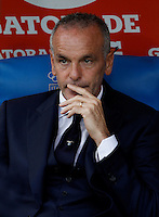 Calcio, Serie A: Lazio vs Frosinone. Roma, stadio Olimpico, 4 ottobre 2015.<br /> Lazio coach Stefano Pioli waits for the start of the Italian Serie A football match between Lazio and Frosinone at Rome's Olympic stadium, 4 October 2015.<br /> UPDATE IMAGES PRESS/Isabella Bonotto
