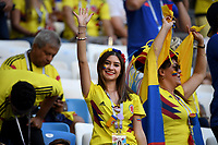 SAMARA - RUSIA, 28-06-2018: Hinchas de Colombia animan a su equipo durante partido de la primera fase, Grupo H, entre Senegal y Colombia por la Copa Mundial de la FIFA Rusia 2018 jugado en el estadio Samara Arena en Samara, Rusia. / Fans of Colombia cheer for their team during the match between Senegal and Colombia of the first phase, Group H, for the FIFA World Cup Russia 2018 played at Samara Arena stadium in Samara, Russia. Photo: VizzorImage / Julian Medina / Cont
