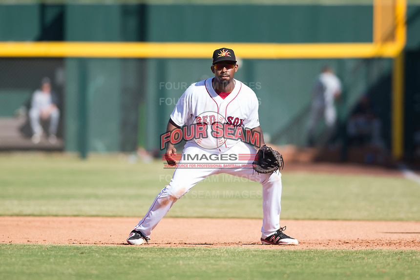 Mesa Solar Sox first baseman Josh Ockimey (28), of the Boston Red Sox organization, during an Arizona Fall League game against the Peoria Javelinas at Sloan Park on October 24, 2018 in Mesa, Arizona. Mesa defeated Peoria 4-3. (Zachary Lucy/Four Seam Images)