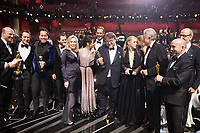 Paul Denham Austerberry, Faye Dunaway, Sally Hawkins, Doug Jones, Guillermo del Toro, Warren Beatty and J. Miles Dale pose after the live ABC Telecast of The 90th Oscars&reg; at the Dolby&reg; Theatre in Hollywood, CA on Sunday, March 4, 2018.<br /> *Editorial Use Only*<br /> CAP/PLF/AMPAS<br /> Supplied by Capital Pictures