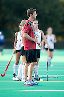 STANFORD CA - September 23, 2011:  Assistant Coach Steve Danielson before the Stanford vs Cal at vs Lehigh field hockey game at the Varsity Field Hockey Turf Friday night at Stanford.<br /> <br /> The Cardinal team defeated the Golden Bears 3-2.