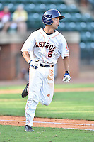 Greeneville Astros shortstop Ford Stainback (6) swings at a pitch during a game against the  Pulaski Yankees on July 11, 2015 in Greeneville, Tennessee. The Yankees defeated the Astros 9-3. (Tony Farlow/Four Seam Images)
