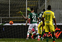 CALI - COLOMBIA - 14 - 06 - 2017: German Mera, jugador de Deportivo Cali (Fuera de Cuadro), anota gol a Franco Armani, portero de Atletico Nacional, durante partido de ida de la final entre Deportivo Cali y Atletico Nacional, por la Liga Aguila I-2017, jugado en el estadio Deportivo Cali (Palmaseca) de la ciudad de Cali. / German Mera, player of Deportivo Cali, (Out of Pic), scored goal to Franco Armani, goalkeeper of Atletico Nacional, during a match of the first leg of the finals between Deportivo Cali and Atletico Nacional, for the Liga Aguila I-2017 at the Deportivo Cali (Palmaseca) stadium in Cali city. Photo: VizzorImage  / Luis Ramirez / Staff.