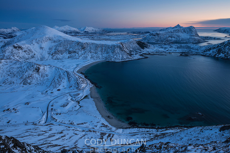 Winter view over Haukland beach from Mannen, Vestvågøy, Lofoten Islands, Norway