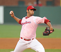 Starting pitcher Luis Diaz of the Greenville Drive in a game against the Hickory Crawdads on Sunday, September 2, 2012, at Fluor Field at the West End in Greenville, South Carolina. Hickory won, 8-4. (Tom Priddy/Four Seam Images)