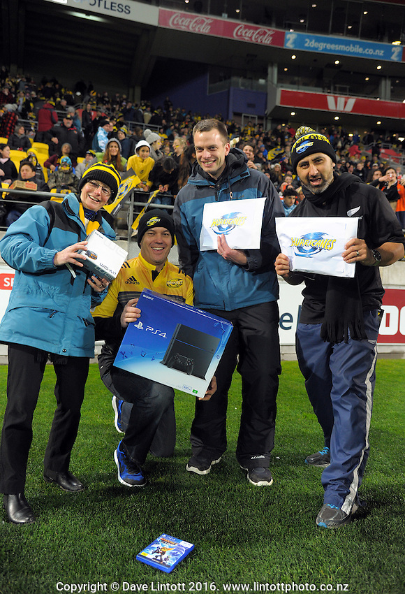 Promotional prizewinners during the Super Rugby semifinal match between the Hurricanes and Chiefs at Westpac Stadium, Wellington, New Zealand on Saturday, 30 July 2016. Photo: Dave Lintott / lintottphoto.co.nz