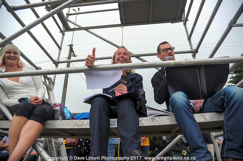 The media bench during the Super Rugby preseason rugby union match between the Hurricanes and Crusaders at Border Rugby club in Waverley, New Zealand on Friday, 17 February 2017. Photo: Dave Lintott / lintottphoto.co.nz