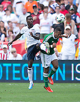 Eddie Johnson (18) of the USMNT fights for the ball with Dennis Aogo (6)  during the game at RFK Stadium in Washington DC.  The USMNT defeated Germany, 4-3, in a friendly match.
