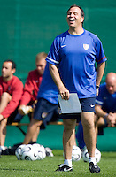 USA's head coach Bruce Arena laughs during practice in Hamburg, Germany, for the 2006 World Cup, June, 9, 2006.