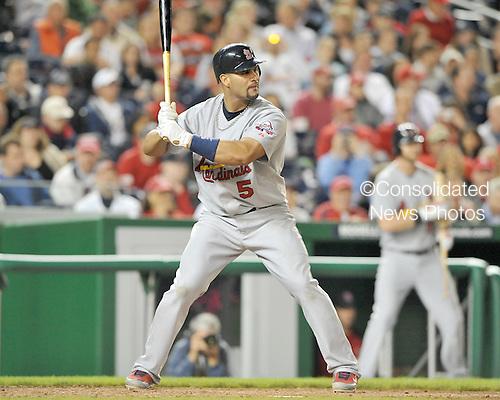 Washington, D.C. - April 30, 2009 -- St. Louis Cardinals first baseman Albert Pujols (5) bats against the Washington Nationals at Nationals Park in Washington, D.C. on Thursday, April 30, 2009..Credit: Ron Sachs / CNP