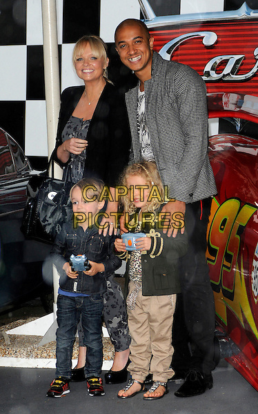 EMMA BUNTON, JADE JONES, Beau & guest.UK Premiere of 'Cars 2' at Whitehall Gardens, London, England..July 17th 2011.full length kid child children mother kids mom mum father dad black grey gray jacket jeans denim couple .CAP/CAN.©Can Nguyen/Capital Pictures.