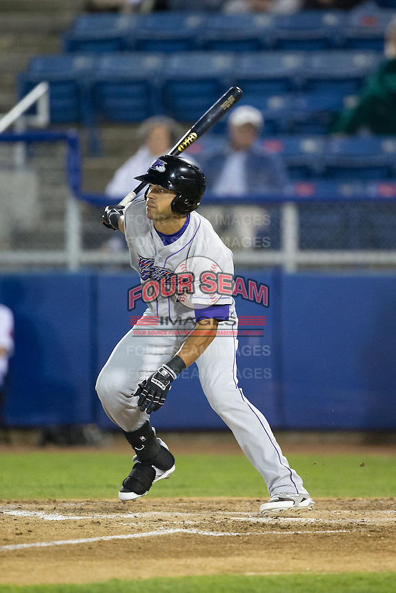 Keenyn Walker (24) of the Winston-Salem Dash follows through on his swing against the Salem Red Sox at LewisGale Field at Salem Memorial Ballpark on May 13, 2015 in Salem, Virginia.  The Red Sox defeated the Dash 8-2.  (Brian Westerholt/Four Seam Images)