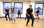 Laura Osnes and Tony Yazbeck with cast during the Press Rehearsal for the Manhattan Concert Production of 'Crazy For You'  at Pearl Studios on February 16, 2017 in New York City.