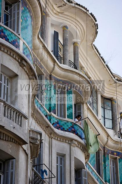 Afrique/Afrique du Nord/Maroc /Casablanca: détail façade d'un immeuble Art-Déco boulevard Mohammed V