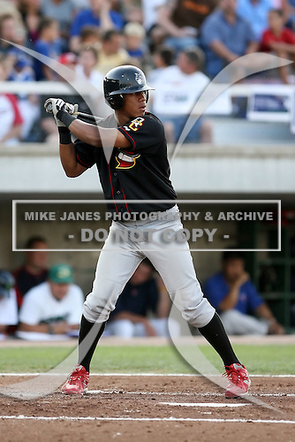 August 16 2008:  Second baseman Domnit Bolivar (3) of the Quad Cities River Bandits, Class-A affiliate of the St. Louis Cardinals, during a game at Pohlman Field in Beloit, WI.  Photo by:  Mike Janes/Four Seam Images