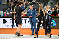 Scotch Andy Murray, Manolo Santana and Madrid Mayor Manuela Carmena during  TPA Finals Mutua Madrid Open Tennis 2016 in Madrid, May 08, 2016. (ALTERPHOTOS/BorjaB.Hojas) /NortePhoto.com