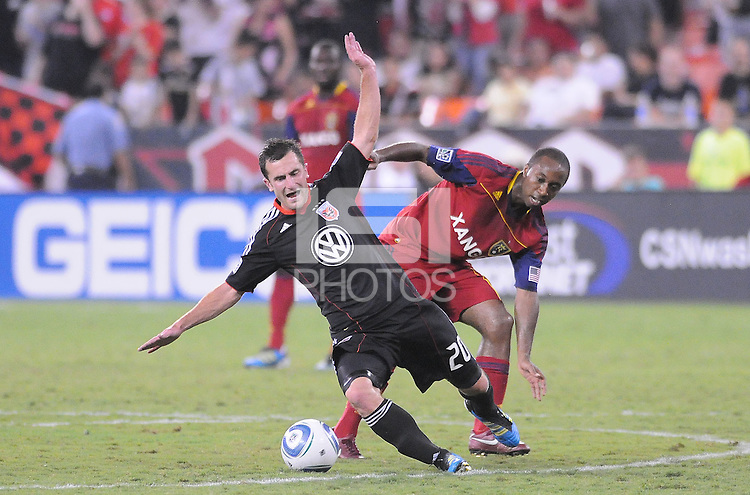 D.C. United Stephen King (20) gets fouled by Real Salt Lake midfeilder Collen Warner (26). D.C. United defeated Real Salt Lake 4-1 at RFK Stadium, Saturday September 24 , 2011.