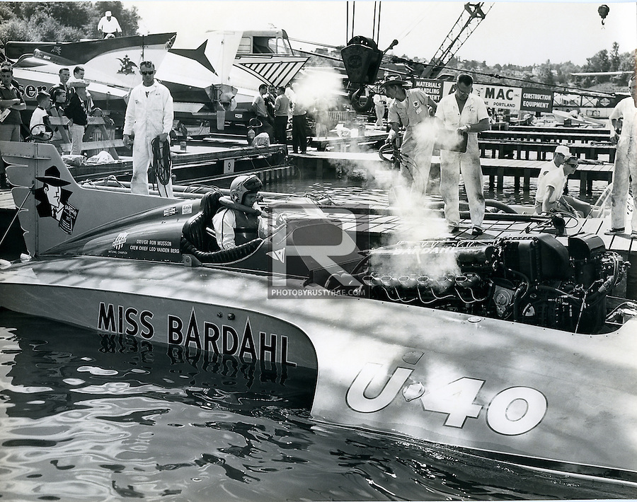Ron Musson lights up the Miss Bardahl on his way out of Stan Sayres Pits for a test run. Musson was one of the all-time great drivers, who lost his life on that black day in Washington, D.C. so many years ago.