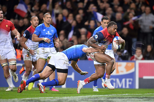 12.11.2016. Stadium Toulouse, Toulouse, France. Autumn International rugby match, France versus Samoa.  Try scored by Virimi Vakatawa (fra)