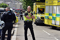 2017 06 07 Police at the scene of a man barricaded in a flat in Newport, Wales, UK