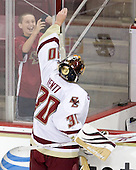 Chris Venti (BC - 30) makes one fan's day at the end of warmups. - The Boston College Eagles defeated the visiting University of Toronto Varsity Blues 8-0 in an exhibition game on Sunday afternoon, October 3, 2010, at Conte Forum in Chestnut Hill, MA.