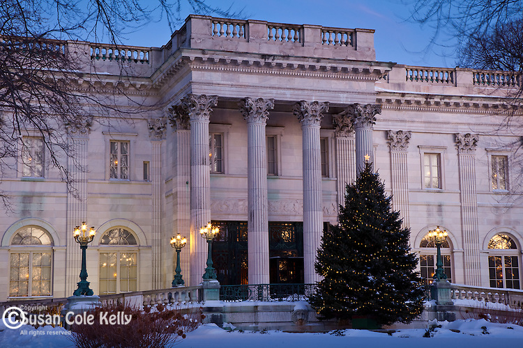 Christmas snow at Marble House, a mansion in Newport, RI, USA
