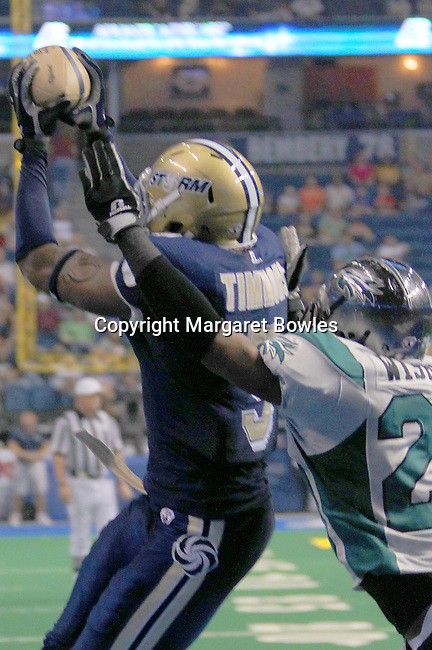 25 June 2010: Tampa wide receiver Tyrone Timmons pulls in a touchdown as the Tampa Bay Storm defeated the Bossier-Shreveport Battle Wings 78-39 at the St. Pete Forum in Tampa, Florida