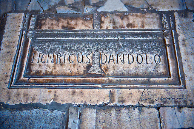 Tomb of Enrico Dandolo the infamous 41st Doge of Venice who persuaded the Fourth Crusade to Sack Constantinople on April 13, 1204. Hagia Sophia, Istanbul, Turkey.