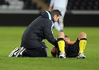 Pictured: An Aston Villa player injured on the ground Monday 25 April 2016<br /> Re: Play Off semi final, Swansea City AFC U21 v Aston Villa FC U21 at the Liberty Stadium, Swansea, UK