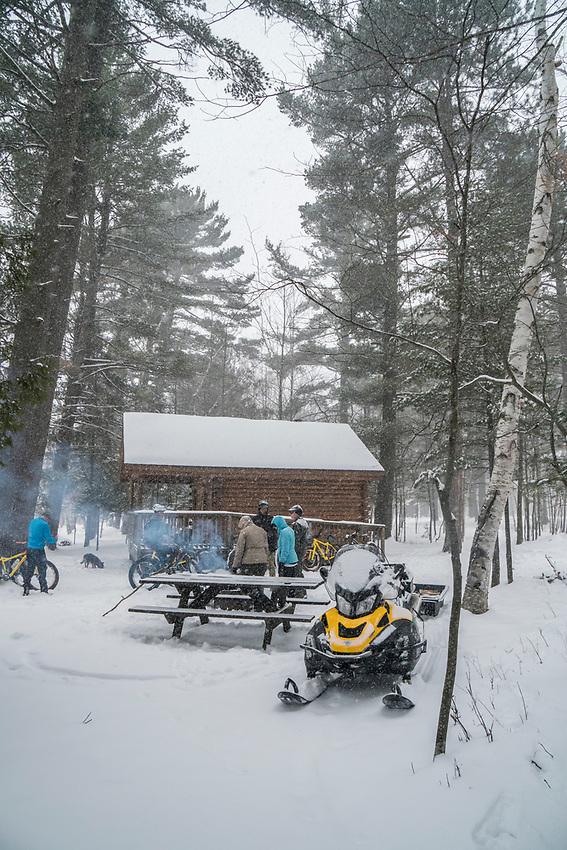 Winter fat biking at Harlow Lake near Marquette, Michigan.