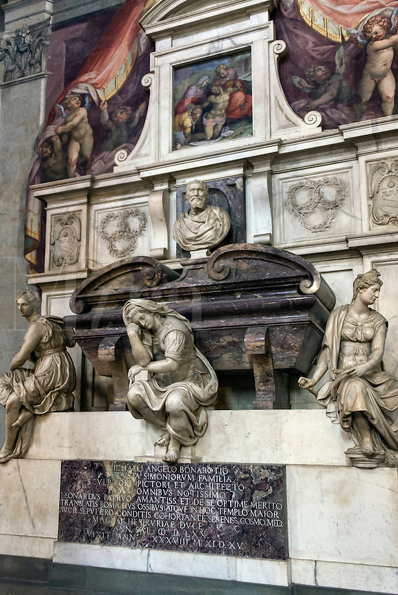 Michelangelo's Crypt located in the church of Santa Croce Basilica, Florence, Italy