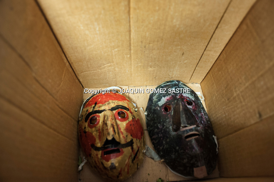 Metal masks worn by mamuxarros in carnival Unanua in Navarra