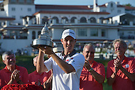 Bethesda, MD - June 29, 2014: Justin Rose holds his trophy after winning the Quicken Loans National at Congressional Country Club in Bethesda, MD, June 29, 2014. Rose won the tournament after a playoff with Shawn Stefani.  (Photo by Don Baxter/Media Images International)