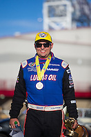 Apr 12, 2015; Las Vegas, NV, USA; NHRA top fuel driver Richie Crampton celebrates after winning the Summitracing.com Nationals at The Strip at Las Vegas Motor Speedway. Mandatory Credit: Mark J. Rebilas-
