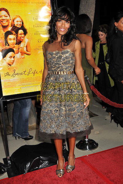 "JADA PINKETT-SMITH.The Secret Life Of Bees"" Los Angeles Premiere at The Academy Of Motion Picture Arts & Sciences, Beverly Hills, California, USA..October 6th, 2008.full length beige silver grey gray sheer beads beaded dress gold belt .CAP/ADM/BP.©Byron Purvis/AdMedia/Capital Pictures."