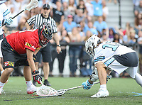 Baltimore, MD - April 28, 2018: Maryland Terrapins Dan Morris (8) and Johns Hopkins Blue Jays Kyle Marr (13) fights for the ground ball during game between John Hopkins and Maryland at  Homewood Field in Baltimore, MD.  (Photo by Elliott Brown/Media Images International)