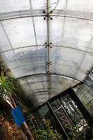 Incubators, restored 1995-97, Paul Chemetov and Borja Huidobro, Jardin des Plantes, Museum National d'Histoire Naturelle, Paris, France, and passageway to  Plant History Glasshouse (formerly Australian Glasshouse), 1830s, Rohault de Fleury. Oblique low angle view of the glass and iron passageway roof, through which is visble the Plant History Glasshouse.
