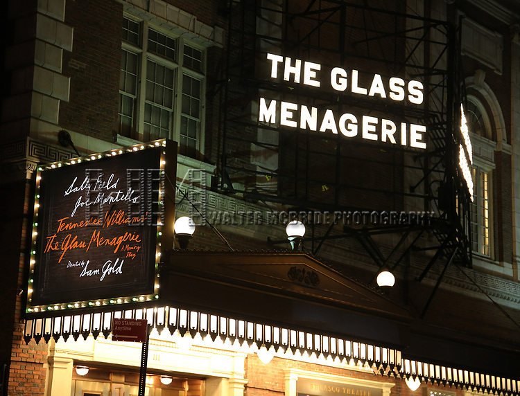 """Theatre Marquee the Broadway Opening Night Performance of """"The Glass Menagerie'"""" starring Sally Fiels, Joe Mantello and Finn Wittrock at the Belasco Theatre on March 9, 2017 in New York City."""
