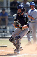 March 15, 2010:  Catcher Chris Mathis of the Fontbonne University Griffins in a game vs. Roger Williams University Hawks at Lake Myrtle Park in Auburndale, FL.  Photo By Mike Janes/Four Seam Images
