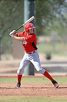 Cincinnati Reds third baseman Tanner Rahier (4) during an Instructional League game against the Texas Rangers on October 7, 2013 at Goodyear Training Complex in Goodyear, Arizona.  (Mike Janes/Four Seam Images)