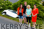 Two German tourists, Daniel Joachims and Diandra Buesen who car slipped off of the verge of the Abbeydorney to Ballyduff road on Thursday morning standing with Cllr Aoife Thornton and Pauline Cattermole