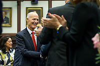 TALLAHASSEE, FLA. 3/7/17-Gov. Rick Scott is welcomed to the House Chamber prior to giving the State of the State address during opening day of the 2017 legislative session at the Capitol in Tallahassee.<br /> <br /> COLIN HACKLEY PHOTO