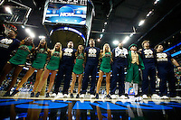 PITTSBURGH, PA - MARCH 21: Members of the Notre Dame Fighting Irish cheerleaders sing to the crowd following their 67-64 overtime win against the Butler Bulldogs during the third round of the 2015 NCAA Men's Basketball Tournament at Consol Energy Center on March 21, 2015 in Pittsburgh, Pennsylvania.  (Photo by Jared Wickerham/Getty Images)
