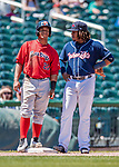 31 May 2018: New Hampshire Fisher Cats third baseman Vladimir Guerrero Jr. chats with Portland Sea Dogs catcher Jhon Nunez during a game at Northeast Delta Dental Stadium in Manchester, NH. The Sea Dogs defeated the Fisher Cats 12-9 in extra innings. Mandatory Credit: Ed Wolfstein Photo *** RAW (NEF) Image File Available ***
