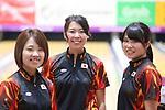 (L-R)  Yuri Sato,  Hikaru Takekawa, Megumi Kitamura (JPN), <br /> AUGUST 22, 2018 - Bowling : <br /> Women's Trios Block 2 <br /> at Jakabaring Sport Center Bowling Center <br /> during the 2018 Jakarta Palembang Asian Games <br /> in Palembang, Indonesia. <br /> (Photo by Yohei Osada/AFLO SPORT)