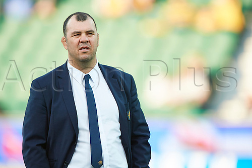 17.09.2016. Perth, Australia.  Michael Cheika, coach of the Qantas Wallabies looks on during the Rugby Championship test match between the Australian Qantas Wallabies and Argentina's Los Pumas from NIB Stadium - Saturday 17th September 2016 in Perth, Australia.