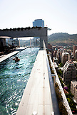 Chile, Santiago, View of Santiago Cityscape from rooftop of W Hotel with open air pool